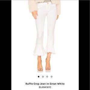 New BLANKNYC ruffle hem jeans in great white.